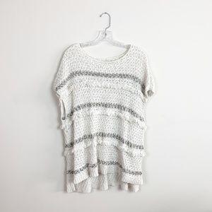 Loft   fringe knit poncho sweater size large